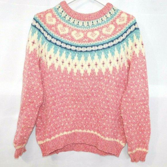 Vintage Womens M Woolrich Fair Isle Wool Sweater